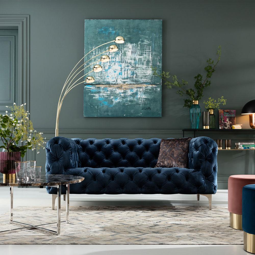 Sofa Look 180cm Velvet Blue
