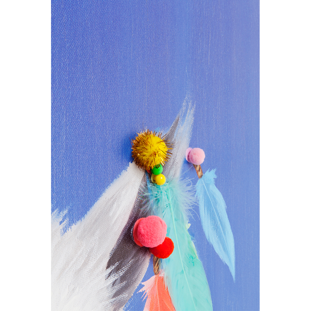 Picture Touched Lama Pom Pom 100x70cm