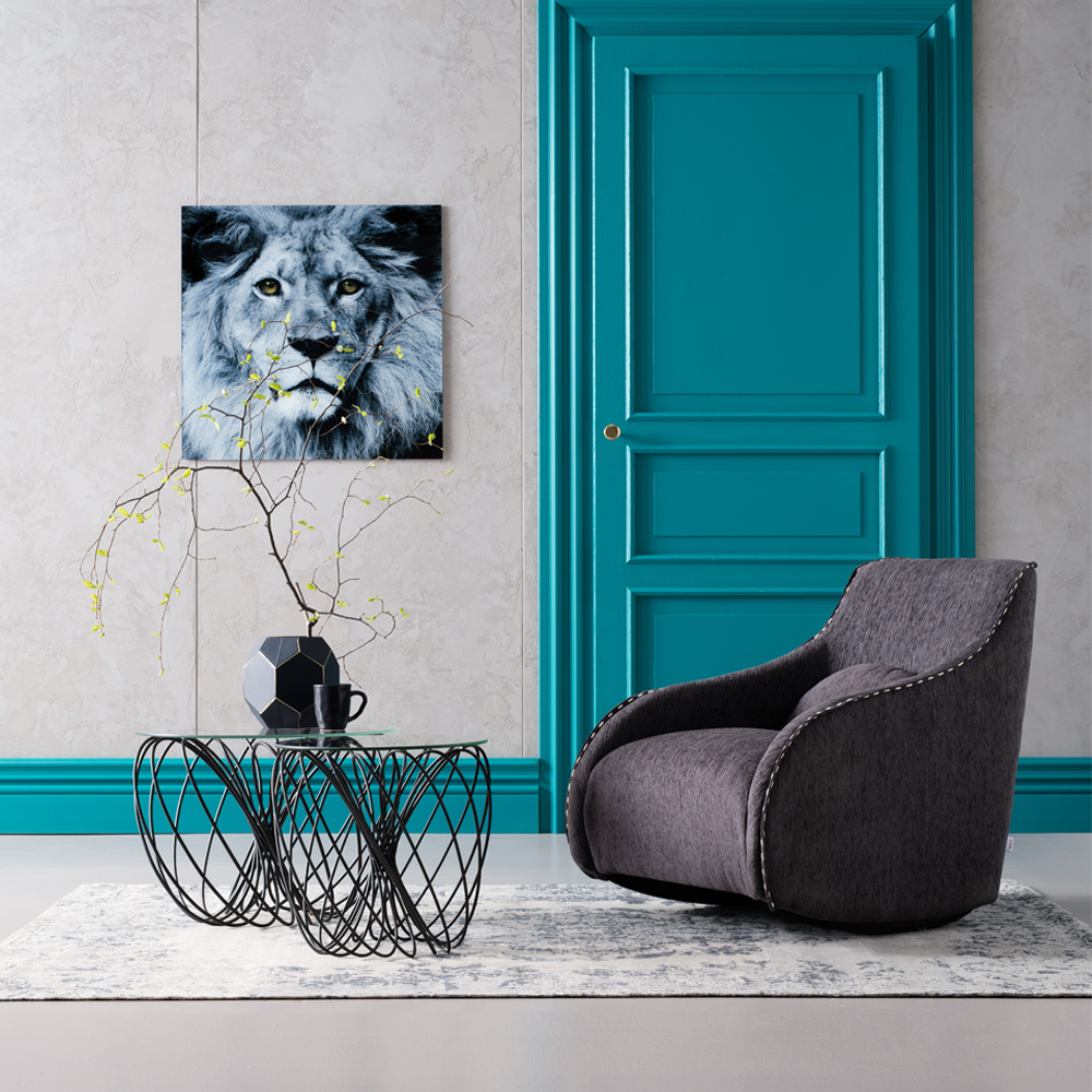 Picture Glass Face Lion 80x80cm
