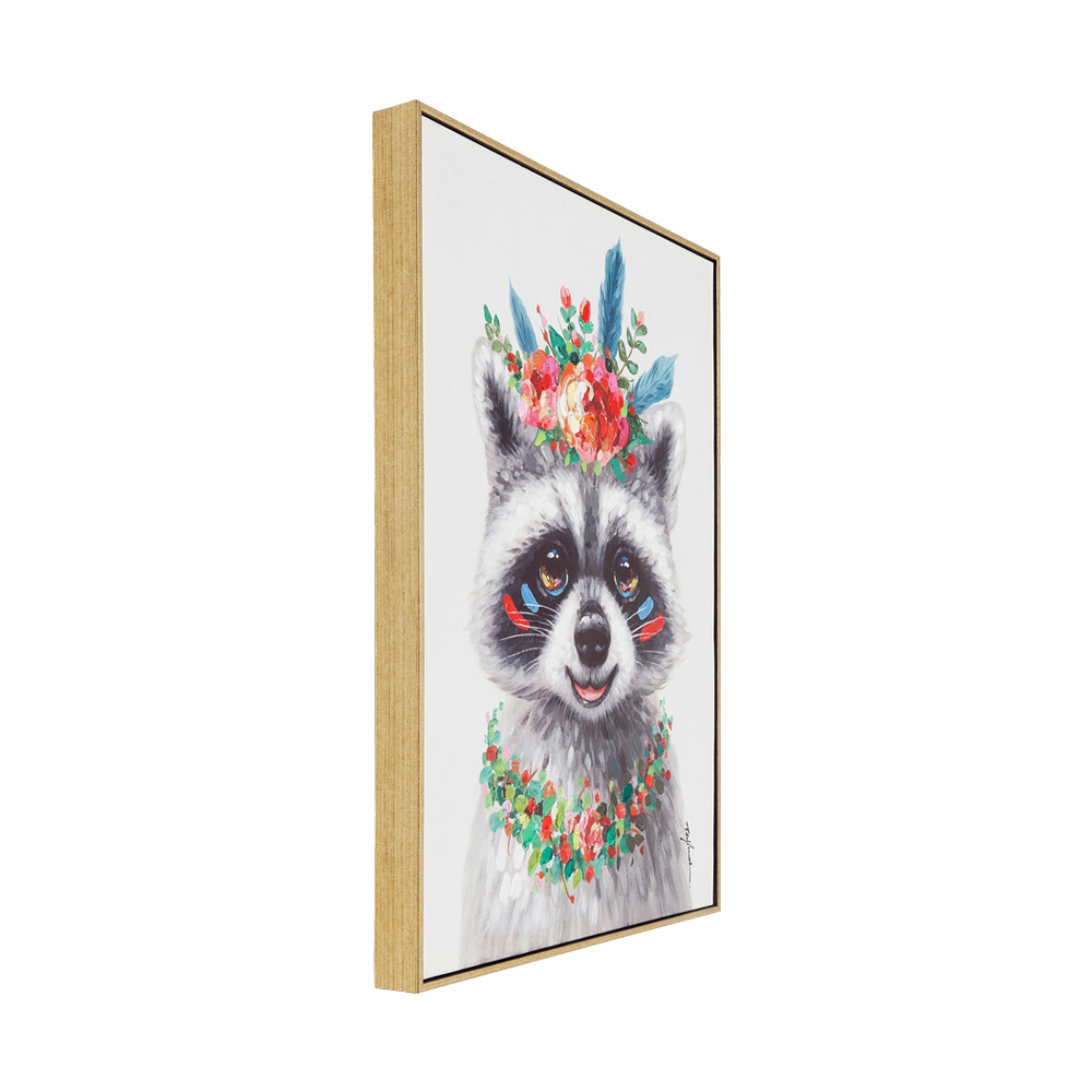Picture Touched Flowers Raccoon 72x52cm