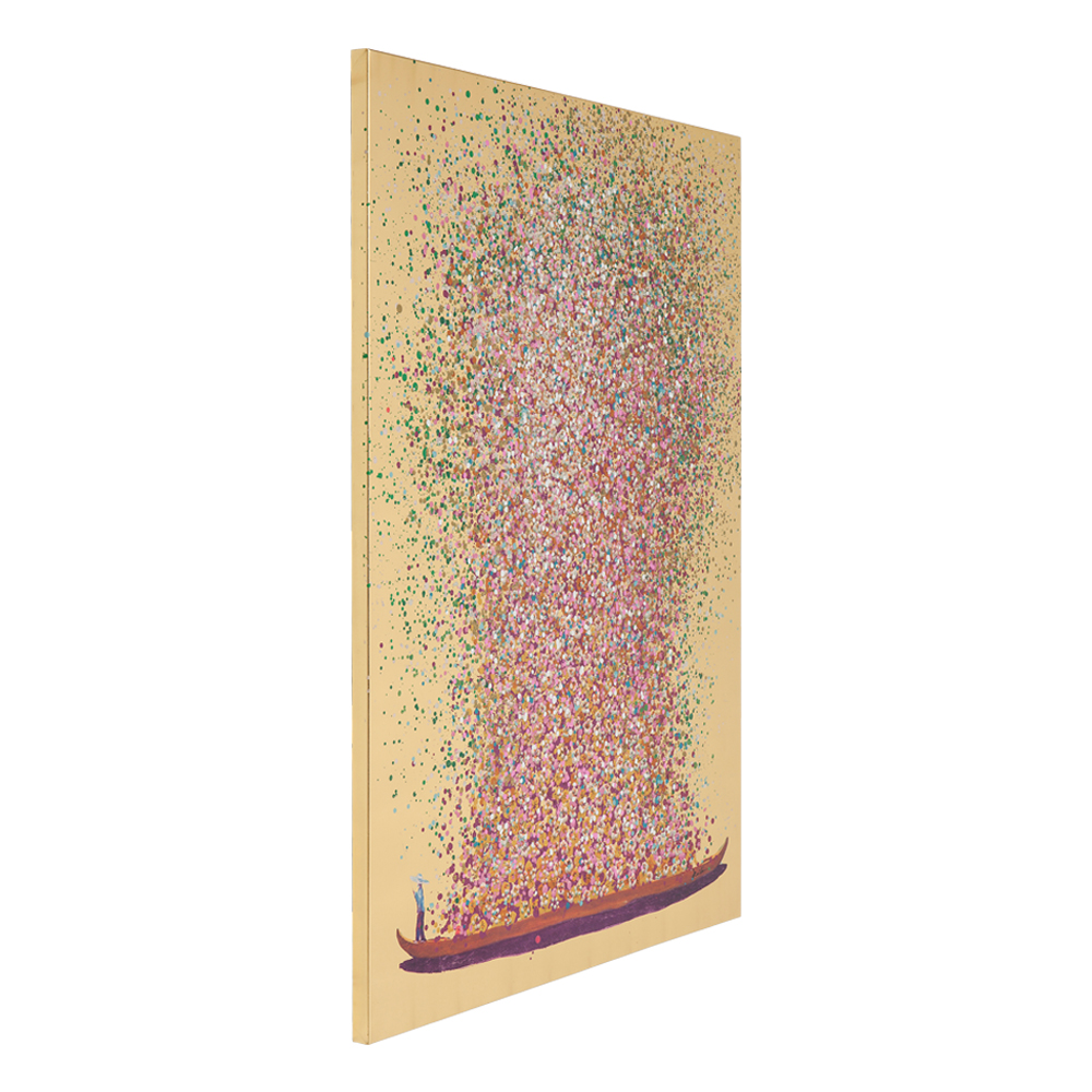 【在庫切れ】Picture Touched Flower Boat Gold Pink 100x80cm