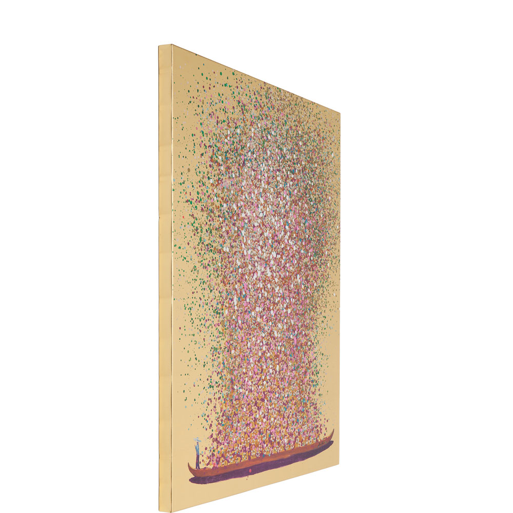 Picture Touched Flower Boat Gold Pink 160x120cm