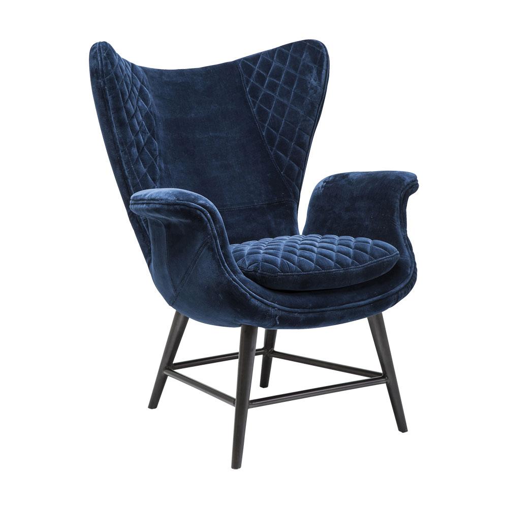 Armchair Tudor Velvet Blue
