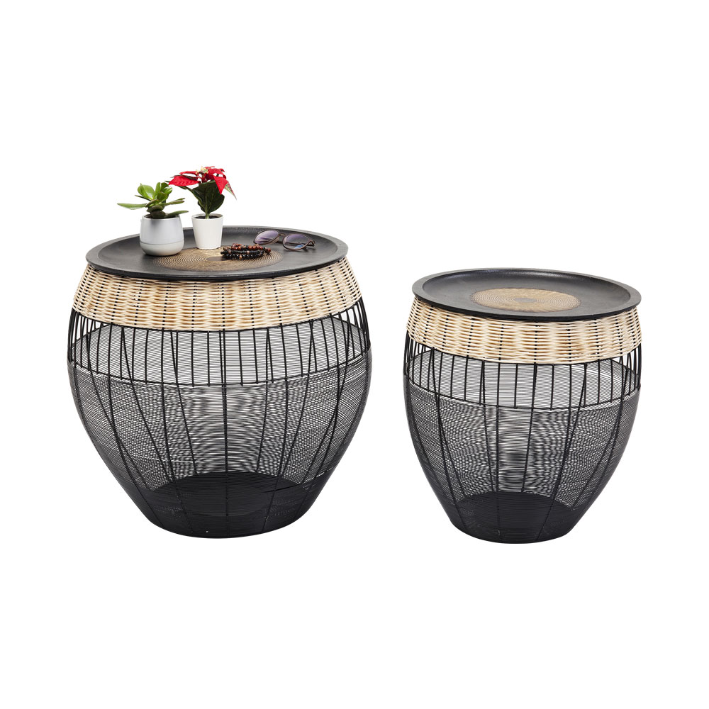 Side Table African Drums (2/Set)
