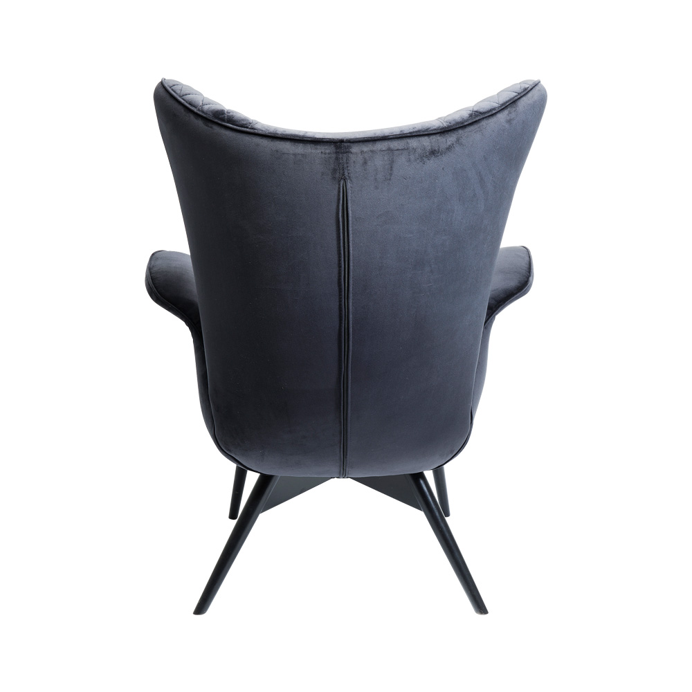 Armchair Tudor Velvet Black