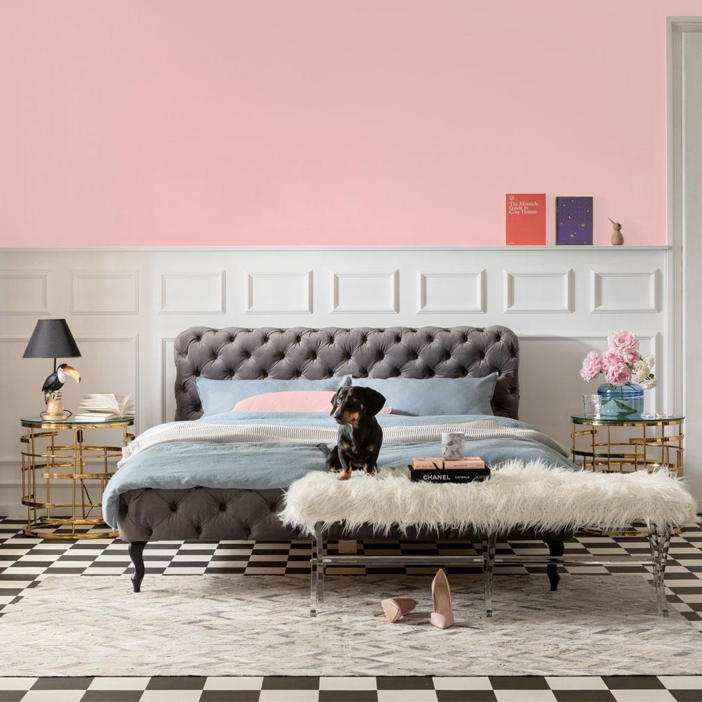 デザイア ベルベットシルバーグレイ ベッド 160x200cm (クイーンサイズ)