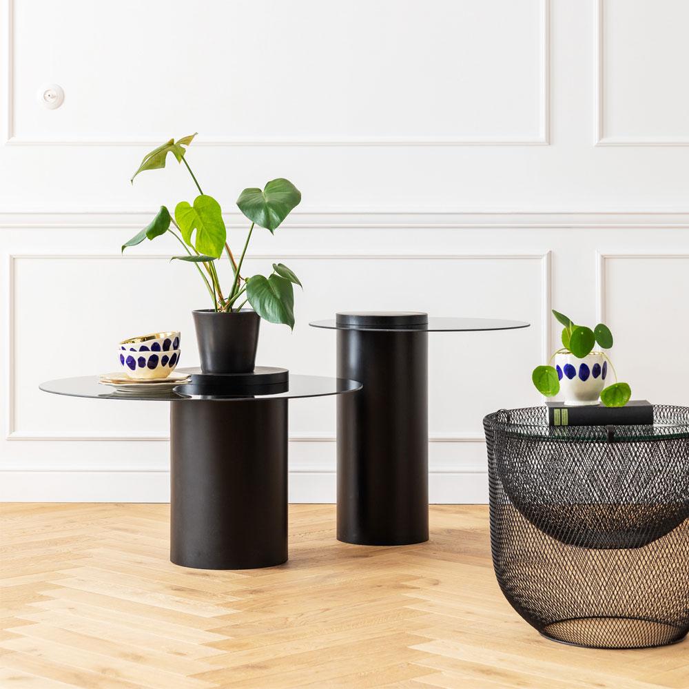グリッドブラック Ø50cm ローテーブル/コーヒーテーブル