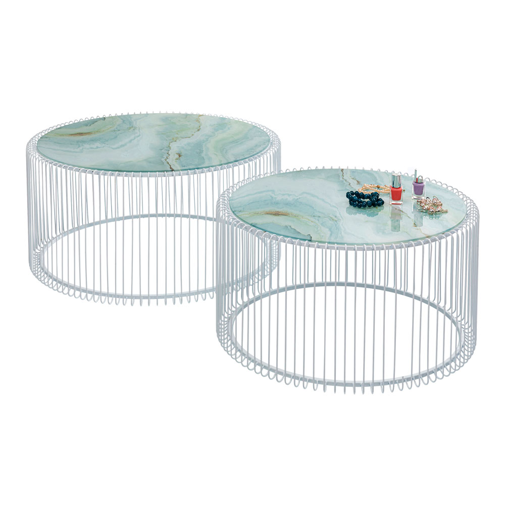 Coffee Table Wire Glass Marble White (2/Set)