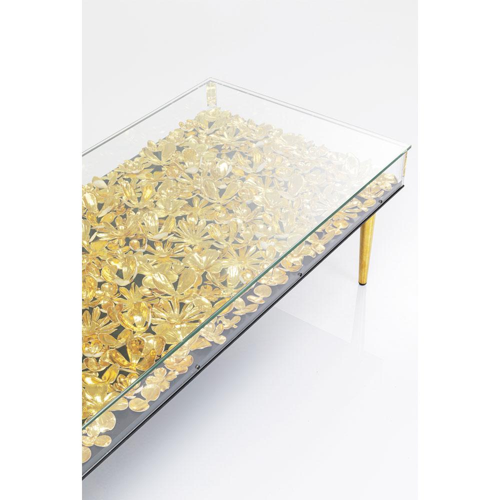 ゴールドフラワー 120x60cm ローテーブル/コーヒーテーブル