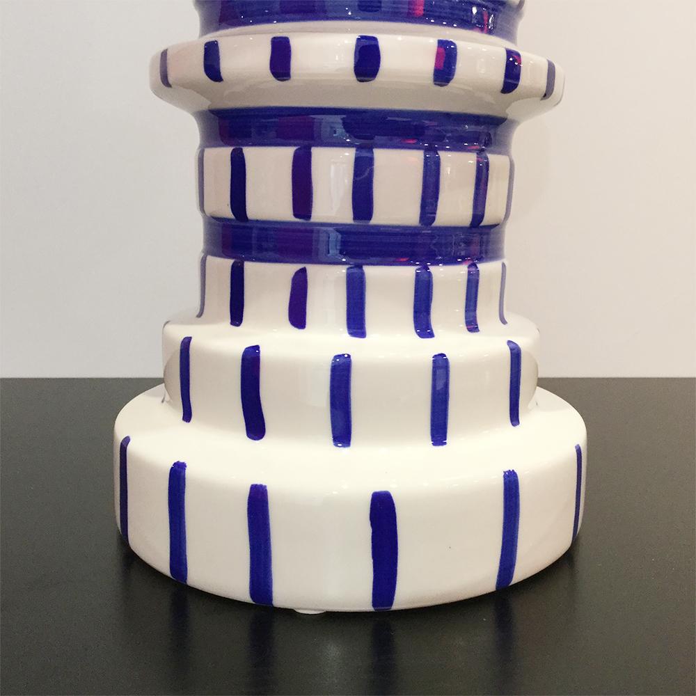 Vase Gear Blue White 30cm