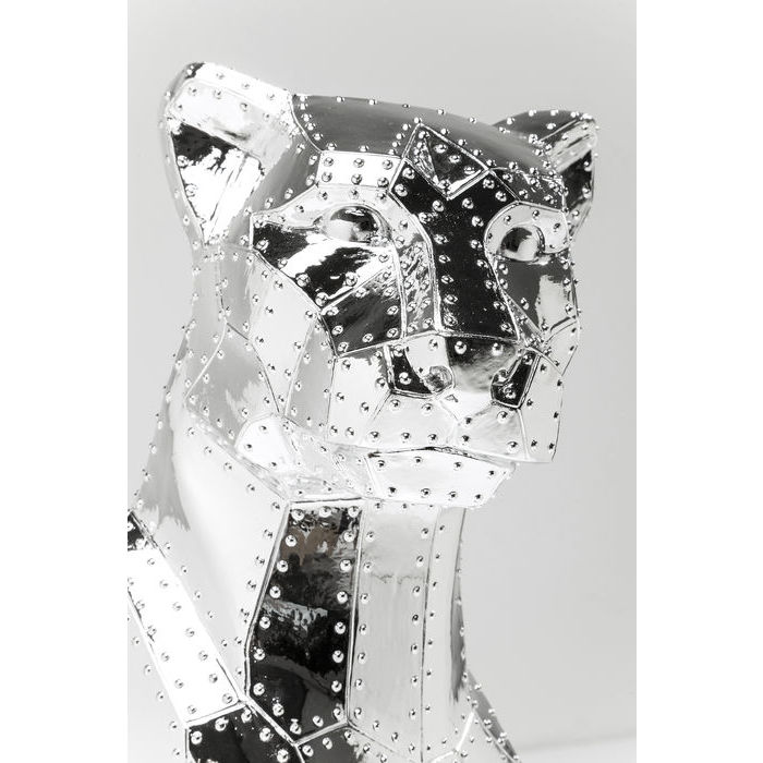 Deco Figurine Sitting Cat Rivet Chrome