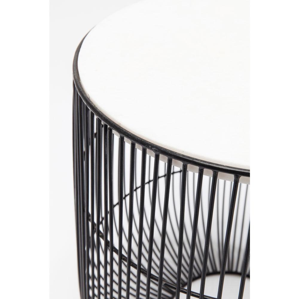 ビーム ホワイト マーブルブラック O32cm サイドテーブル