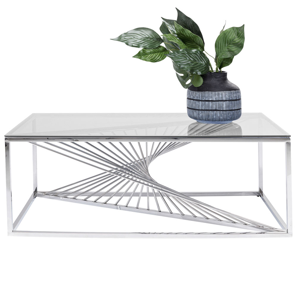 レーザーシルバークリアガラス 120×60㎝ コーヒーテーブル/ローテーブル