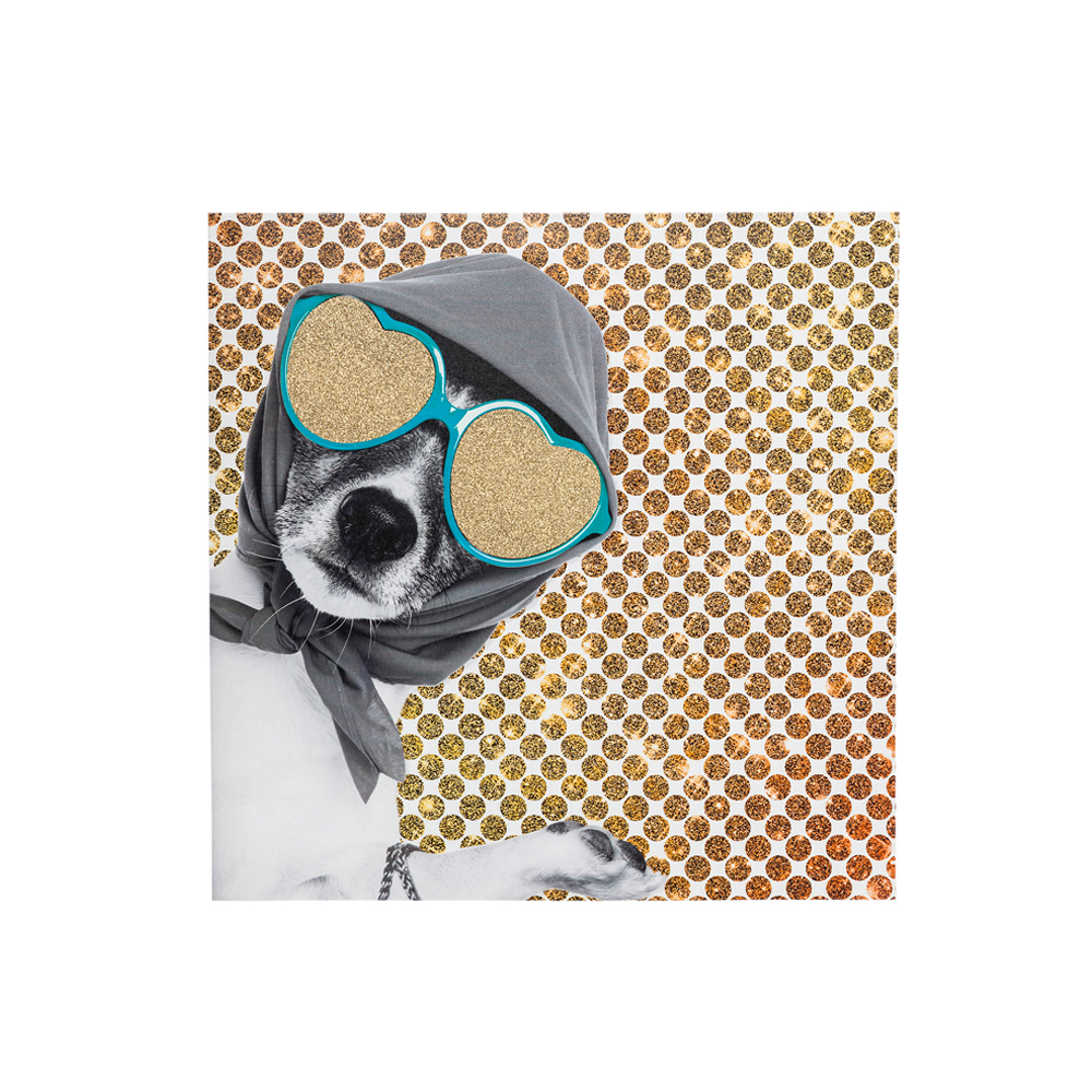 Picture Shopping Lady Dog 40x40cm