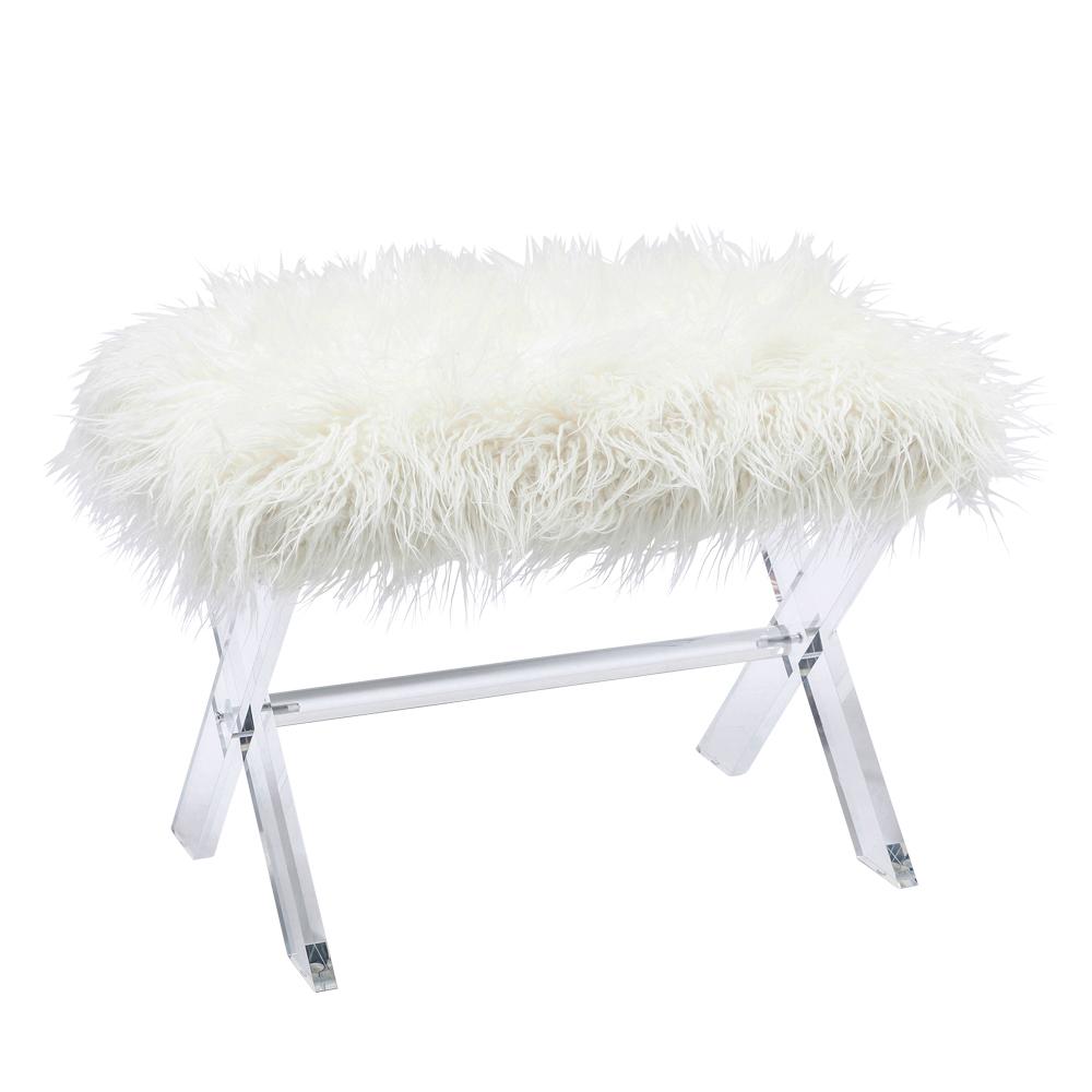 Stool Visible Fur White
