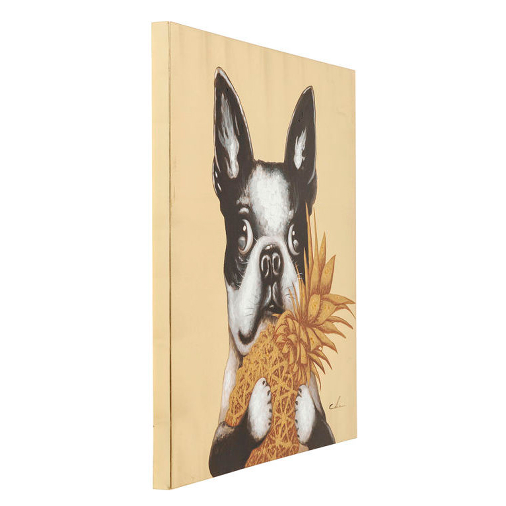 Picture Touched Dog with Pineapple 80x80cm