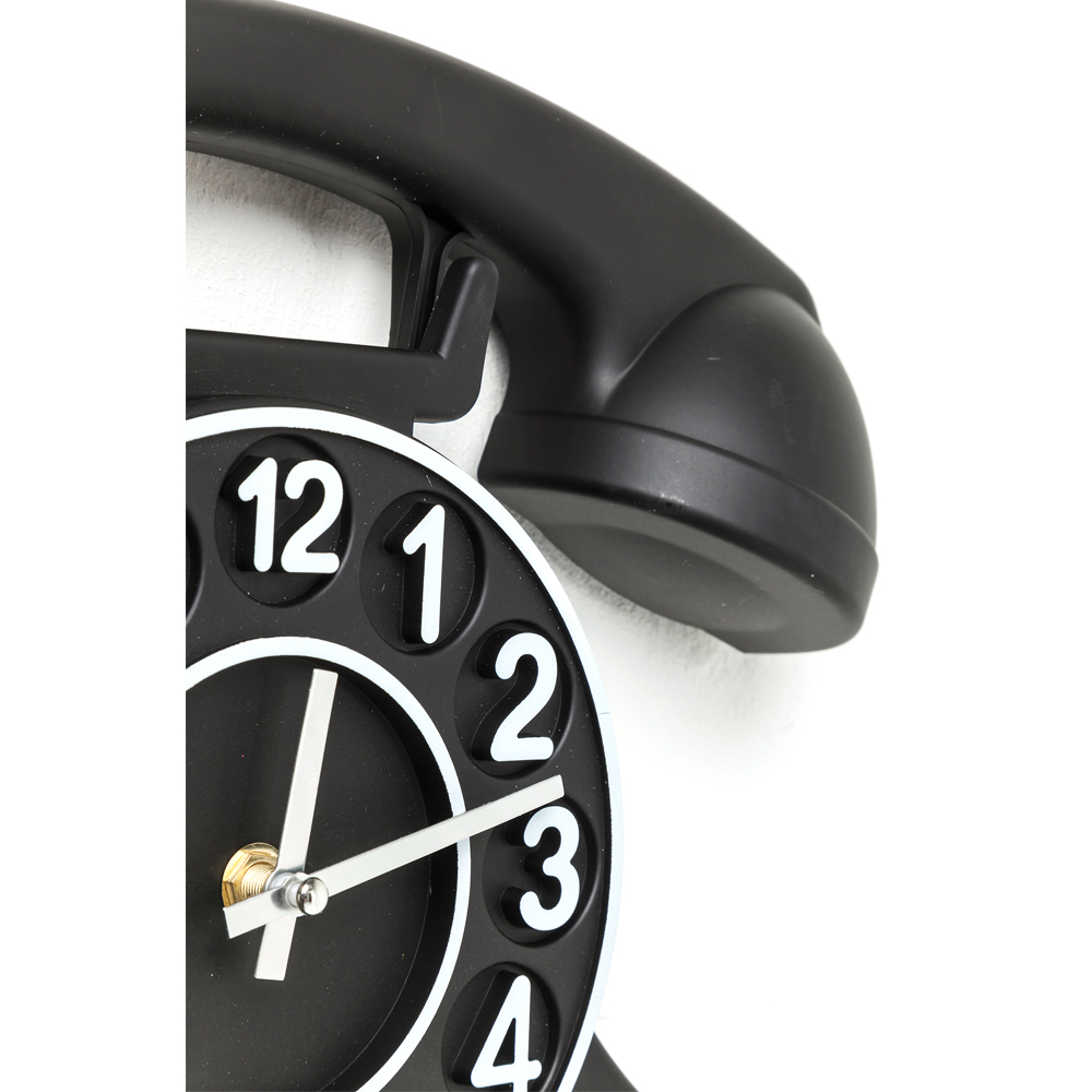 Wall Clock Telephone Black