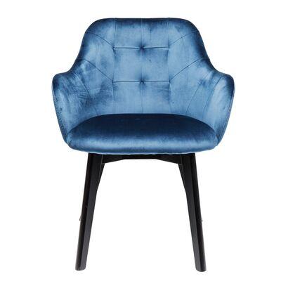 Chair with Armrest Black Lady Velvet Blue