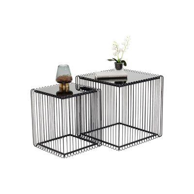 ワイヤースクエアブラック (2/Set) 45x45cm サイドテーブル