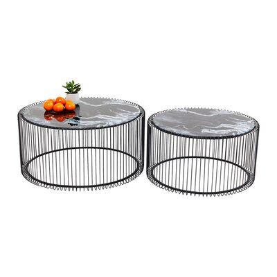 ワイヤーガラスマーブル ブラック(2/Set) ローテーブル/コーヒーテーブル