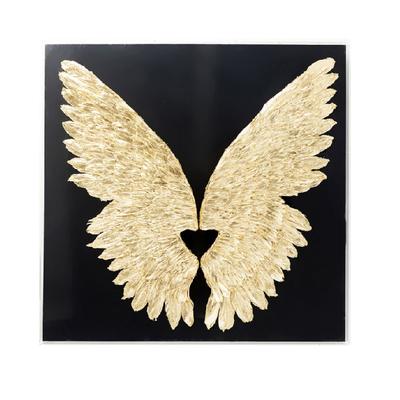 ウィングブラックゴールド120x120cm ウォールデコレーション