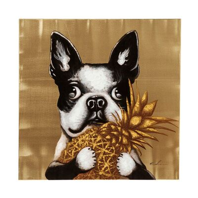 ■【入荷待ち商品】Picture Touched Dog with Pineapple 80x80cm